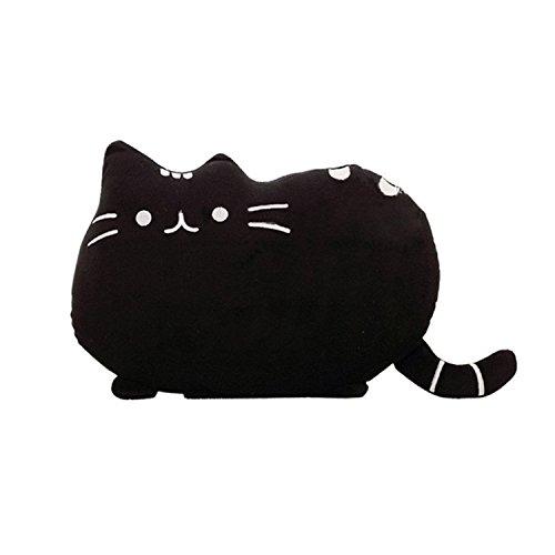 HS Cute Cat Shaped Pillow Plush Stuffed Toys Sofa Throw Pillow Cushion Black