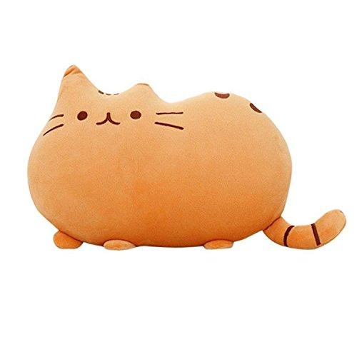 HS Cute Cat Shaped Pillow Plush Stuffed Toys Sofa Throw Pillow Cushion Orange