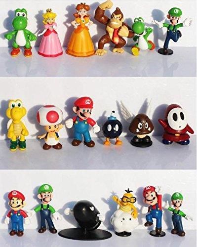 18pcsset Super Mario Bros yoshi dinosaur Peach toad Goomba PVC Action Figures toy