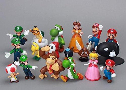 18pcsset Super Mario Bros yoshi dinosaur Peach toad Goomba PVC Action Figures toy bambola eroi bambini