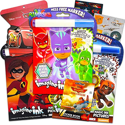 Disney Magic Ink Coloring Book Set - Bundle of 3 Imagine Ink Books for Boys Kids Toddlers Featuring PJ Masks Paw Patrol and The Incredibles with Invisible Ink Pens and Stickers
