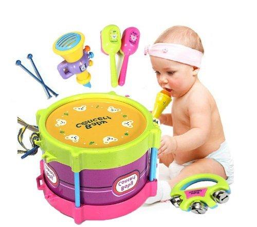 Baby Roll Drum Musical Instruments Kids Drum Set Children Toy 5 Pcs Drum with Drum Sticks Saxophone Whistle Maracas Tambourine Plastic toddlers