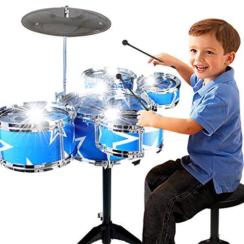 Creation Toy Drum Set for Children 11 Piece Kids Musical Instrument Drum Playset w 6 Drums Cymbal Chair Kick Pedal Drumsticks Blue