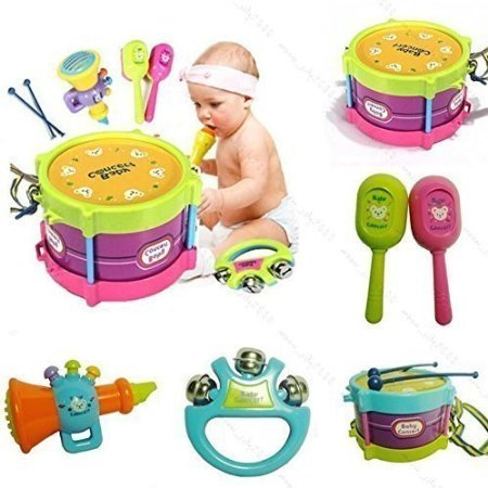 HOT New 5pcs Novelty Kids Roll Drum Musical Instruments Band Kit Children Toy Baby Gift Set