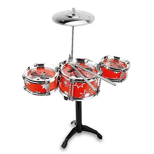 Mini Desktop Drum Set Children Kid Toddler Christmas Gift Musical Instrument Toy Red