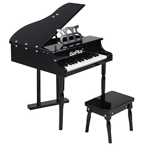 GoplusChilds 30 key Toy Grand Baby Piano w Kids Bench Wood Black New