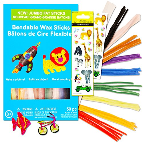 Bendable Wax Sticks For Kids Super Set -- 50 Jumbo Sculpting Sticks 10 Colors with Bonus Stickers