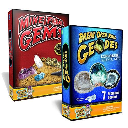Kids Science Value Pack - Mine for Gems  7 Piece Geode Rock Science Kit