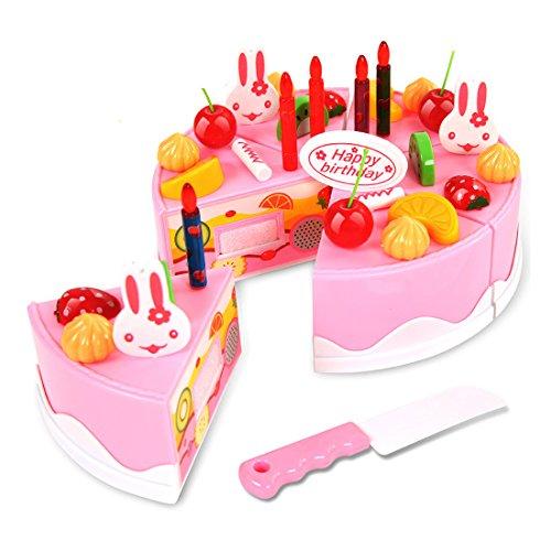 Cake Cutting Toy WOLFBUSH 37Pcs Plastic Kitchen Cutting Toy Birthday Cake Pretend Play Food Toy Set for Kids Girls - Pink