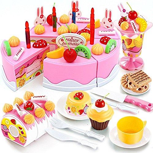 JT-Amigo Kids Pretend Play Food Toy Set - 75 pcs Birthday Cake Pink