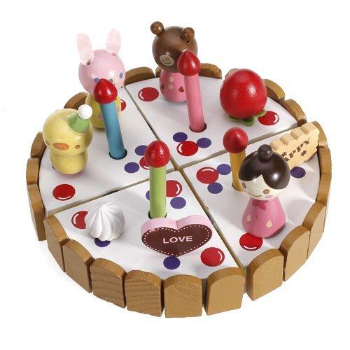 SODIALR Wooden Pretend Play Birthday Cake Toy