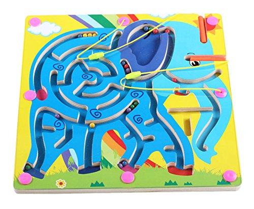 Double-Sided Wooden Kids Toy Maze Puzzle Educational Maze Game Ludo Elephant