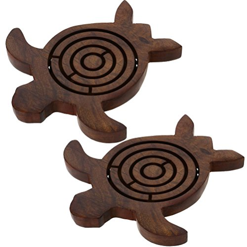 Set of 2 - Wooden Turtle Labyrinth Maze - Unique Labyrinth Game Board Travel Peices - Travel Game Set for Kids Children - 5 x 52