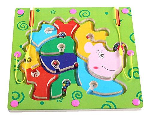 Black Temptation Double-Sided Wooden Kids Toy Maze Puzzle Educational Maze Game Ludo Hedgehog