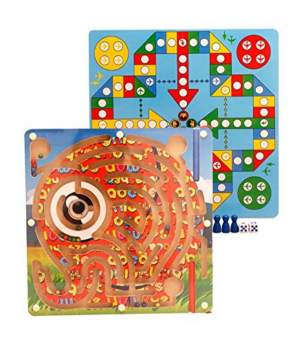 Gentle Meow Wooden Maze Puzzle Magnetic Board Game for Toddler Kids Elephant Maze  Ludo Set