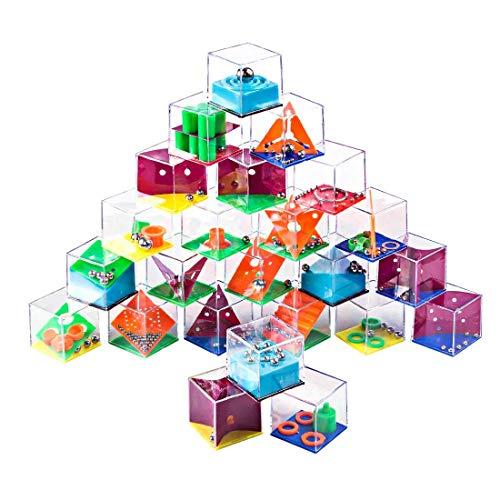 Petforu Maze Puzzle Box 24pcs Brain Teasers Steel Ball Maze Game Kids Party Favors Adult Decompression Toys