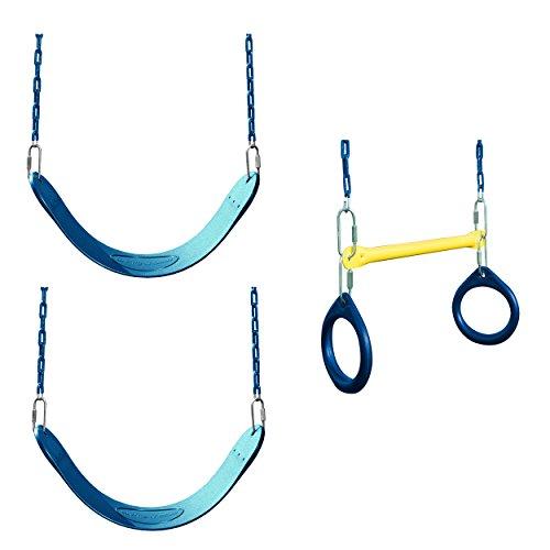 Swing-N-Slide WS 5102 2 Pack of Blue Swing Seats with RingTrapeze Combo Swing Swing Set Refresher Bundle Blue