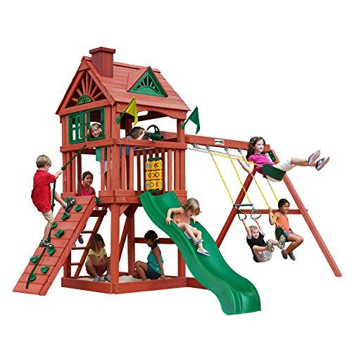 Gorilla Playsets 01-0021 Nantucket Wood Swing Set with Wood Roof Two Swings Slide Sandbox Area Rock Wall Redwood