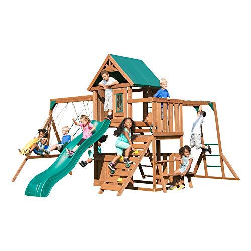 Swing-N-Slide WS 8351 Knightsbridge Plus Swing Set with Slide Glider Swings Monkey Bars Climbing Wall and Picnic Table Wood