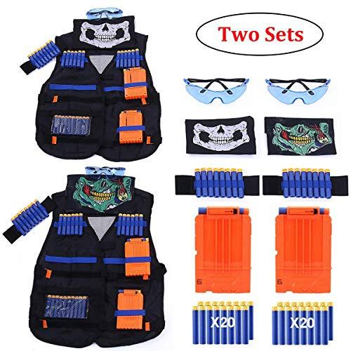 2 Sets Kids Tactical Vest Kit Kids Elite Tactical Vest Kit For Nerf N-strike Elite Series2 Pack Jacket with 2 Wrist Bands 2 Quick Reload Clips 2 Protective Glasses 40 Bullets and 2 Face Tube Mask