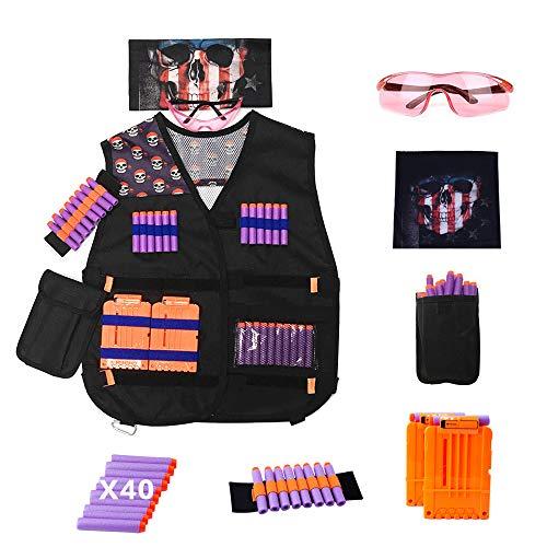 DAWEI Tactical Vest Kit for Nerf Guns Series with Kids VestsProtective GlassesDart PouchesFace Masks Storage Bags2 Reload Clips40 Bullets RefillWrist Bandsfor Kids