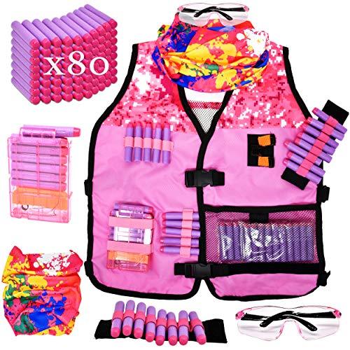 Gift Boutique Girls Tactical Kids Vest Kit for Nerf Guns N-Strike Elite Gear Rebelle Set with Tie-dye Tactical Mask Reload Clips Protective Glasses Wrist Band 80 Refill Blaster Darts for Girls