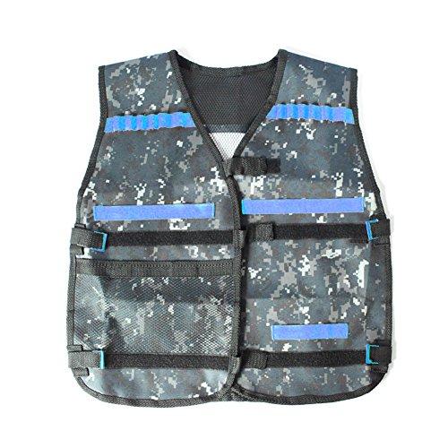 Northbear Tactical Vest Adjustable Elite Nerf Vest N-Strike Elite Series Games Hunting Vest Top not Including Darts and Refill Darts Reload Clips Camouflage Blue