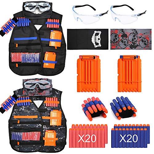Tactical Vest Kit 2 Pack for Kids Nerf Guns N-Strike Elite Series Accessories Refills 40 Refill Darts 2 Tactical Vests 2 Wrist Band 2 Reload Clips 2 Goggles Mask 2 Pack Tactical Vest Kit