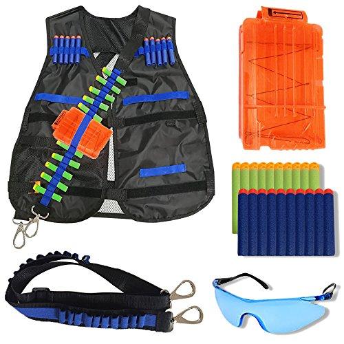 Wishery Tactical Vest for Kids for Nerf Guns N -Strike Elite Series Nerf Accessories Kit - Darts Safety Eye Glasses Bandolier  Sling  Adjustable Vest Jacket Reload Clip for Ammo Storage