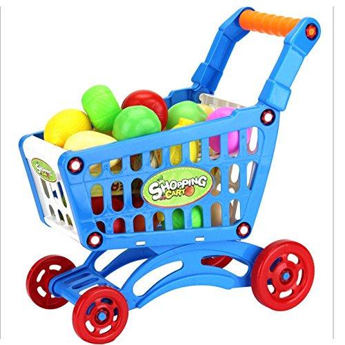 LandFox ToyChildren Kid Educational Toy Fruit Vegetable Pretend Play Shopping CartsBlue