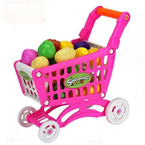 LandFox ToyChildren Kid Educational Toy Fruit Vegetable Pretend Play Shopping CartsRed