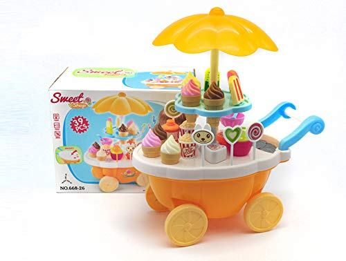 VERZABO Ice Cream Cart Food Truck Toy Toddler Toys Ice Cream Toy 39 Piece Play Ice Cream Set with Music Lights Sound Pretend Play Ice Cream Toy Great Christmas Toy for Toddler GirlBoy