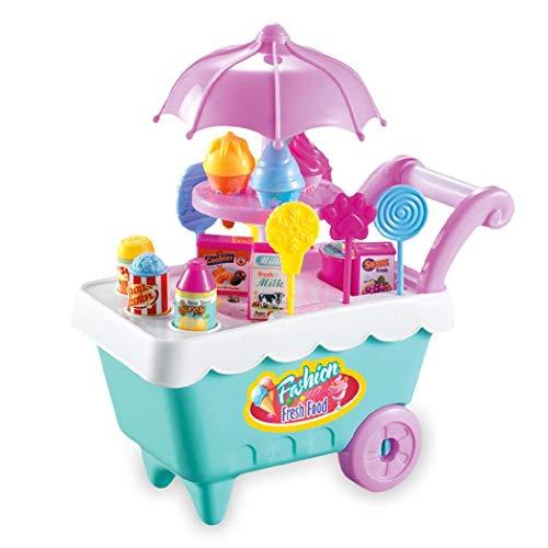 Erholi 19Pcs Kids Rotating Ice Cream Candy Pretend Play Food Supermarket Trolley Toys Blocks