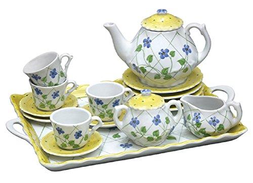 Childrens Tea Party Set - Yellow Polka Dot Periwinkles - 18 Pc
