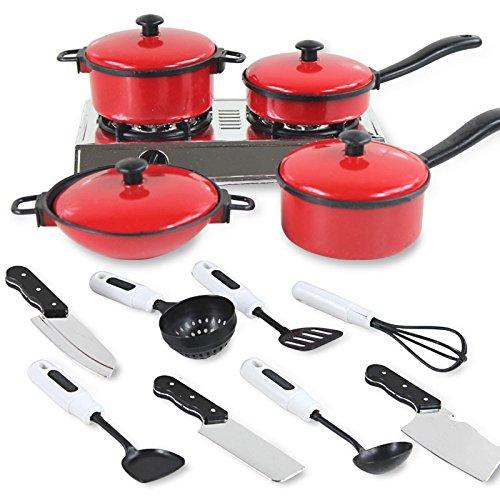 Asdomo 13 Set Mini Kitchen Cookware Pot Pan Kids Pretend Cook Play Toy Utensils
