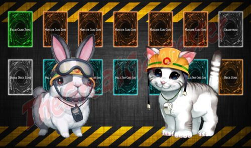 Yugioh Rescue Rabbit  Cat on Construction BG Custom Playmat  Gamemat  Mat 3