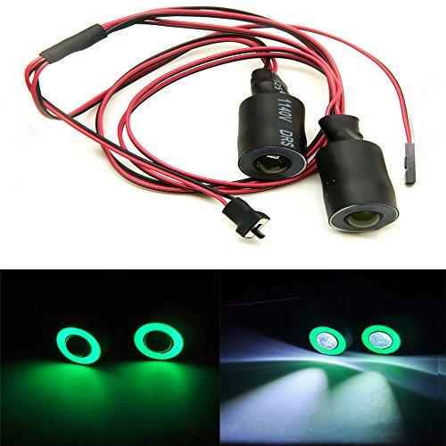 KingModel-CA 17mm 2 Leds Angel Eyes LED Light HeadlightsTaillight for 110 RC Crawler Car Green&White
