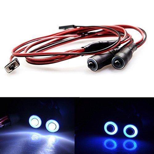 KingModel-CA 2 Leds Angel Eyes LED Light HeadlightsTaillight for 110 RC Crawler Car Pack of 1pcs Blue&White