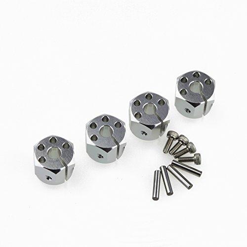 ALIENTAC Aluminum 110 12mm Wheel Hex Adapter Hexagon Combiner Wheel Hub Silver for RC Crawler SCX10 4PCs