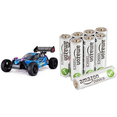 Redcat Racing Shockwave Nitro Buggy Blue 110 Scale with AmazonBasics AA Batteries Bundle