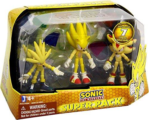 Sonic the Hedgehog Super Pack Action Figures Super Silver Super Sonic and Super Shadow 3 Pack