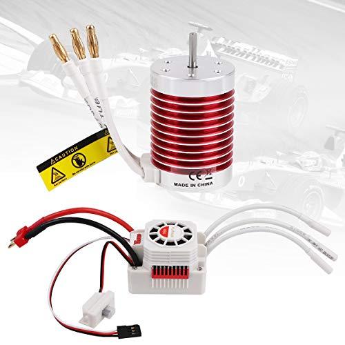 F540 3300KV 4P 3175mm Shaft Waterproof Brushless Motor 45A ESC Combo Set for 110 RC Car Banana Plug