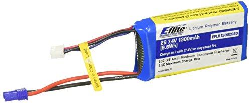 E-flite 1300mAh 2S 74V 20C LiPo 18AWG EC2 Battery