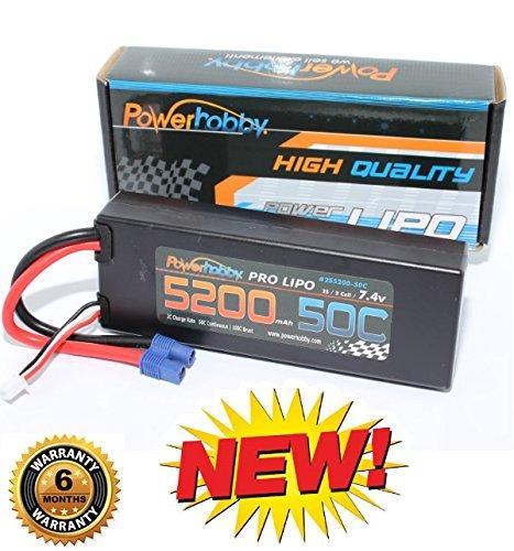 PowerHobby 2S 74V 5200mAh 50C Lipo Battery Pack w EC3 Plug Hard Case Fits  ProBoat ECX Vaterra