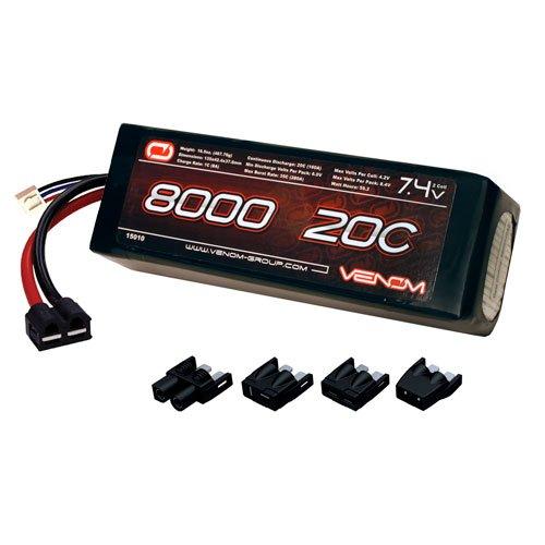 Venom 20C 2S 8000mAh 74V LiPo Battery with Universal Plug EC3DeansTraxxasTamiya