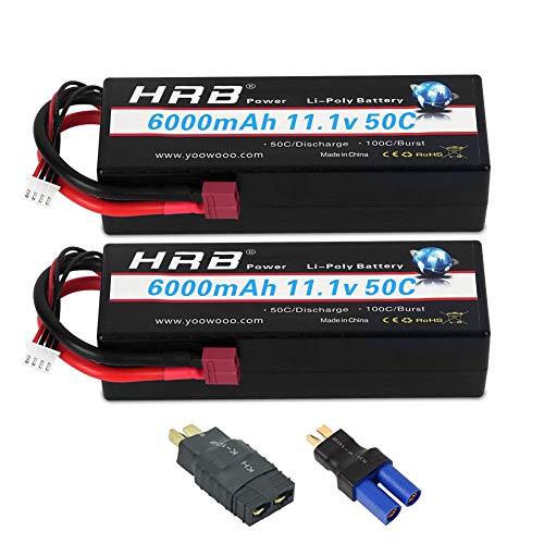 HRB 2PCS 3S Lipo Battery 111V 6000mAh 50C Hard Case RC Battery with Deans TRX EC5 Connector Plug for RC 18 110 Scale Vehicles CarTrucksBoats