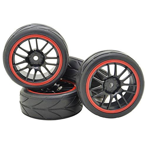 4PCS Black Wheels Rims Tires Tyres Arrow 110 RC Car 26mm Wide 14 Spoke Off Road Vehicle