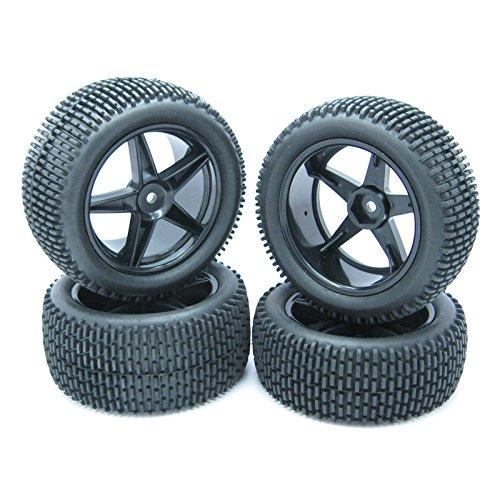 4PCS RC 110 Off-Road Buggy Car Sponge insert Tyre Tires Wheel Rim Black