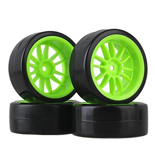 BQLZR 12mm Drive Hex 12-Spoke Green Plastic Wheel Plastic Drift Tire for RC 110 On-Road Car Pack of 4