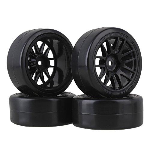 BQLZR 12mm Drive Hex 14-Spoke Black Plastic Wheel Plastic Drift Tire for RC 110 On-Road Car Pack of 4